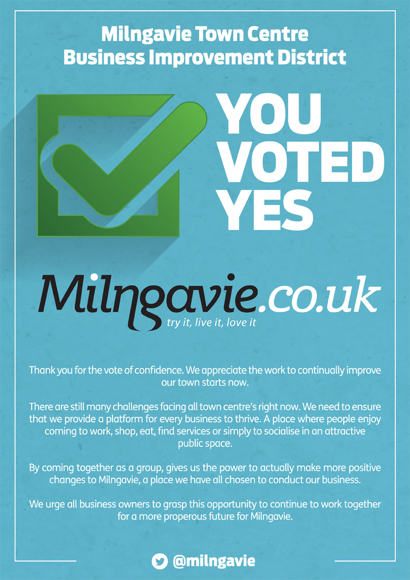 Milngavie Businesses voted Yes in the first renewal ballot for the Improvement District